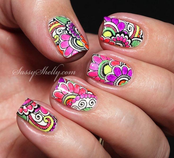Neon Flower Power summer nail art design  |  Sassy Shelly