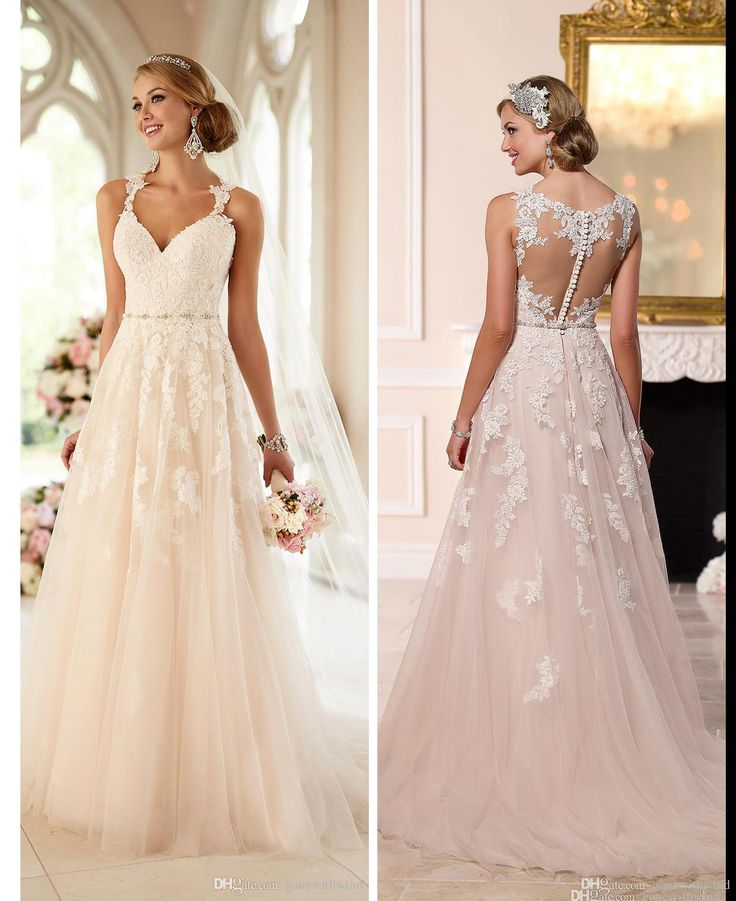 Blush Pink Lace Wedding Dresses 2016 Stella York Romantic Wedding Gowns A Line Sweetheart Neckline Sheer Back With Buttons Bridal Gowns Vintage Wedding Dresses Cheap Wedding Dresses Debenhams From Gonewithwind, $175.88| Dhgate.Com