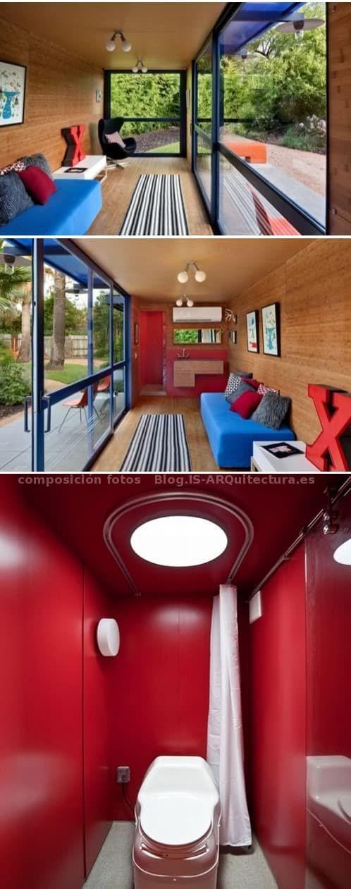 Estudio con sala de estar y aseo, realizado transformando un contenedor marítimo de 40 pies. Con cubierta verde, recogida de pluviales, reciclado aguas grises...