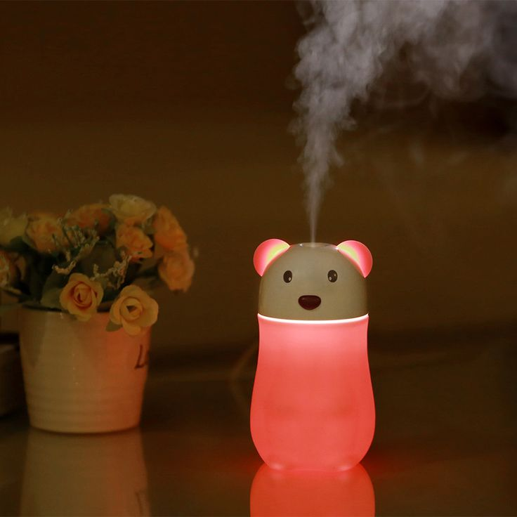 Portable small bear Aromatherapy Diffuser LED Lamp USB Anion Air Purifier Aroma Diffuser Timer Sleep Mode Humidifier