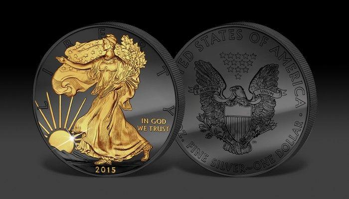 Amerykański Srebrny Orzeł uszlachetniony czarnym rutenem i 24-karatowym złotem