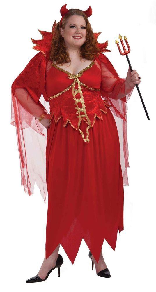 devil dress red satan sexy plus size womens halloween costume xxxl 3x 26 32 - Size 26 Halloween Costumes