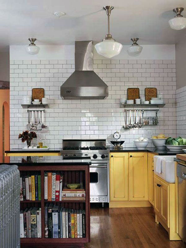 Kitchen Tile Design Ideas Modern Kitchen Design Ideas Subway Tile With White Backsplash Bowl Plate Ceiling Lamp And Sink Stainless Stove Hood Extractor