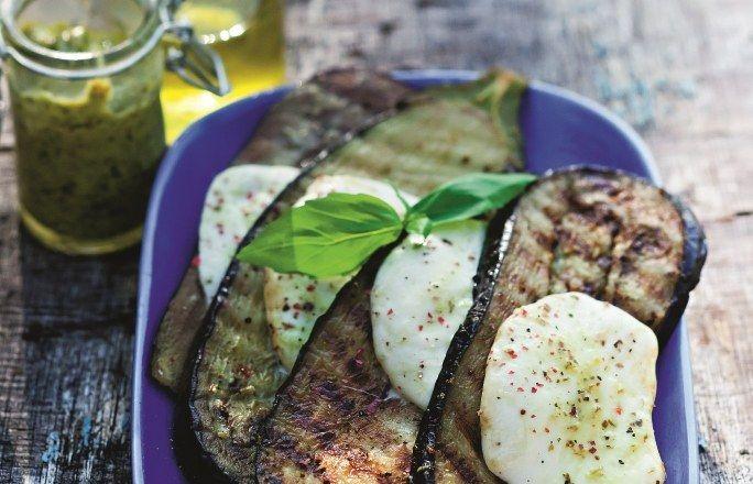 Recette #aubergine à la plancha grillée au #pesto et à la #mozarella