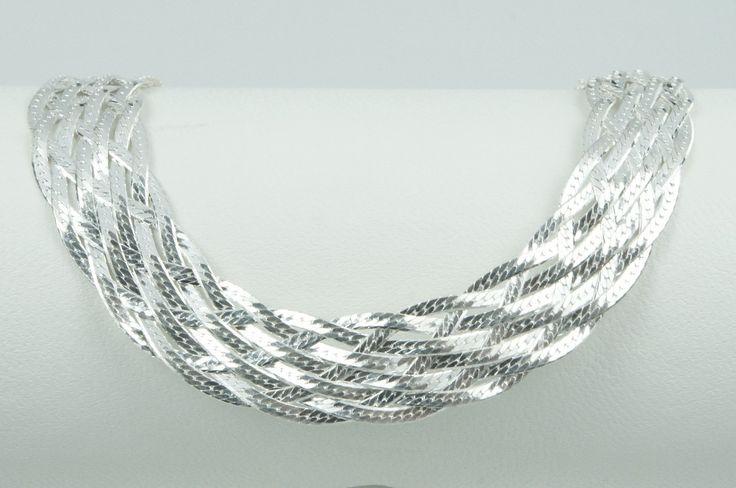 Corrente de prata 925 trancada 6 fios. Comprimento: 45 cm. Largura: 170 mm