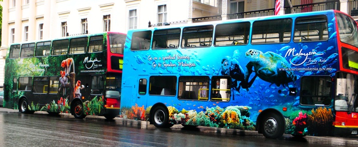 Fully wrapped buses for Tourism Malaysia in London, UK