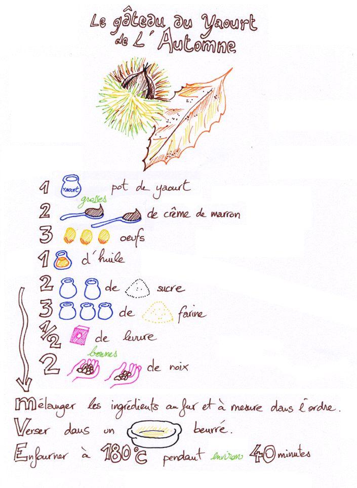 le gâteau du yaourt de l'automne (levure= yeast; creme de marron= chestnut spread)