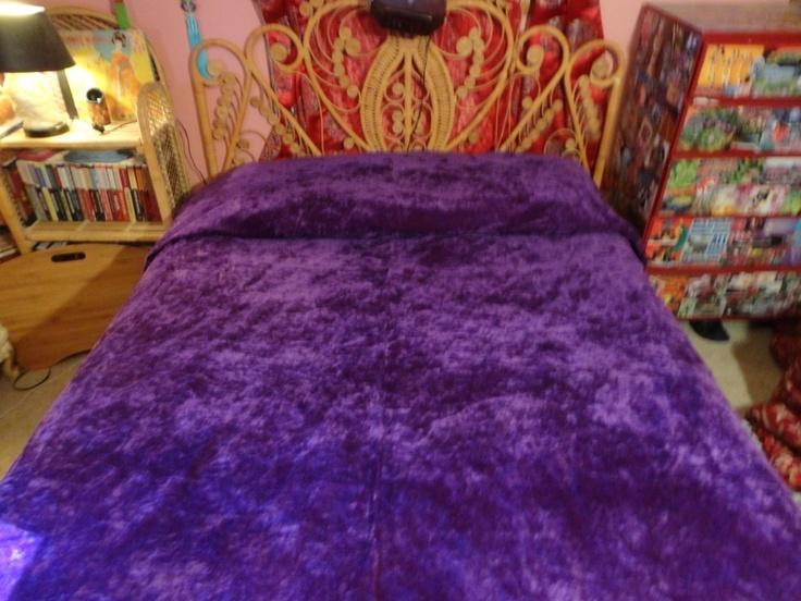 Groovy Vintage 1970s Deep Purple Crushed Velvet Bedspread