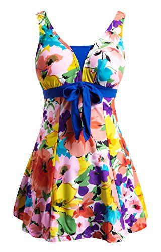 Wantdo Womens Bowknot Dress Cover Up Swimwear Beach Suit Beachwear Plus Size OrangeFlower LUS1214 -- Click on the image for additional details.