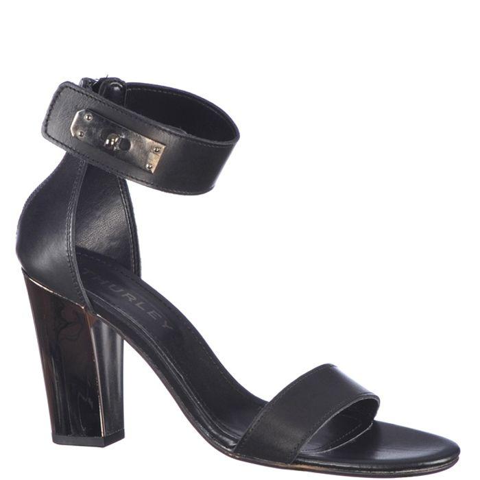 Sandale cu toc inalt de 9,5 cm, marca Thurley de culoare negru metalic. Sunt din piele naturala, piciorul fiind fixat printr-o bareta in partea din fata si acoperis si bareta in jurul gleznei in partea din spate.