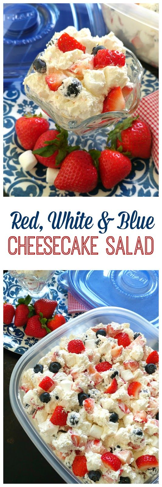 Red, White & Blue Cheesecake Salad!