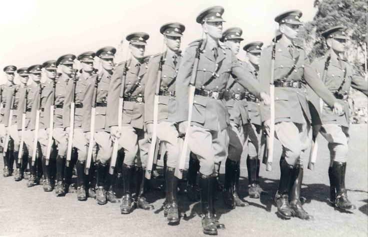 British South Africa Police of Rhodesia. Right of the line - celebrating the Queens birthday, 1964. Before UDI.