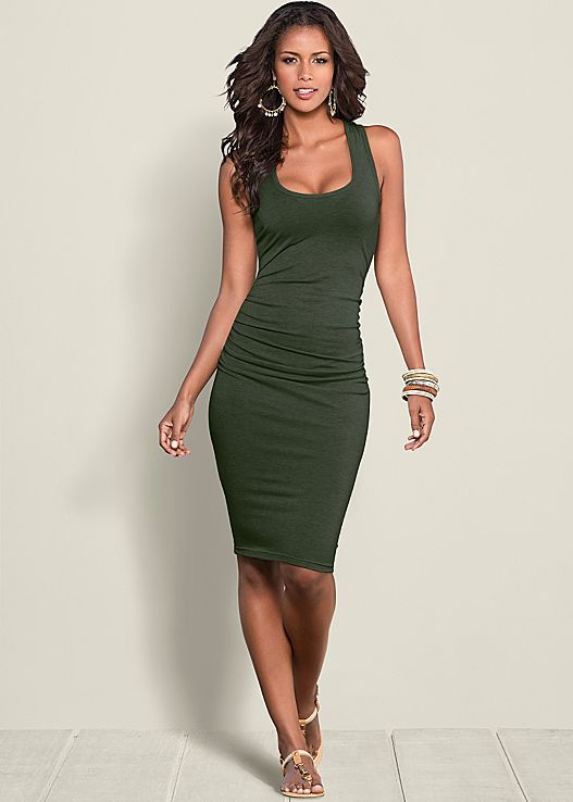 Venus ruched tank dress in olive.