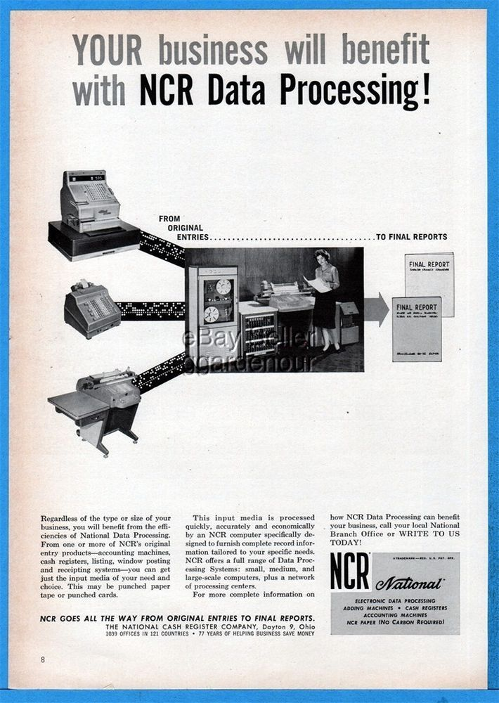 1961 NCR Electronic Data Processing System National Cash Register Computer Advt