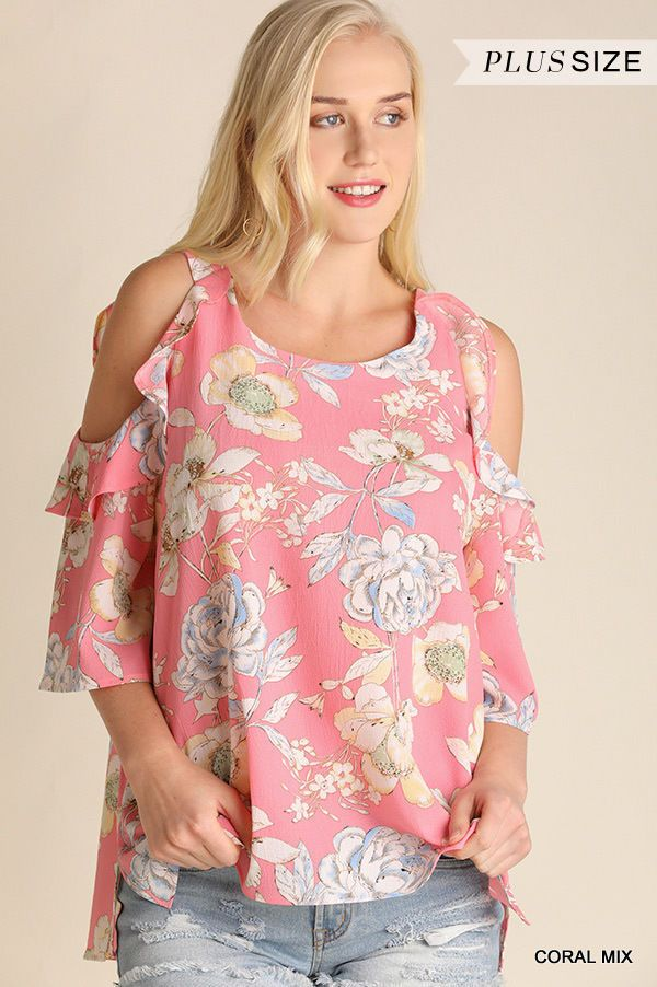 Umgee PLUS SIZE XL Floral Print Ruffle Cold Shoulder Top WR7713