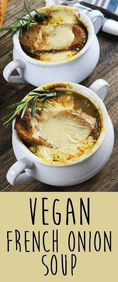 "Get ready to cry some happy tears, because you have found the vegan version of the classic, French Onion Soup. It's rich, savory & aromatic and covered with bubbly gooey ""cheese"". C'mon over to Vegan Huggs for this yummy recipe. #vegansoup #frenchonionsoup."