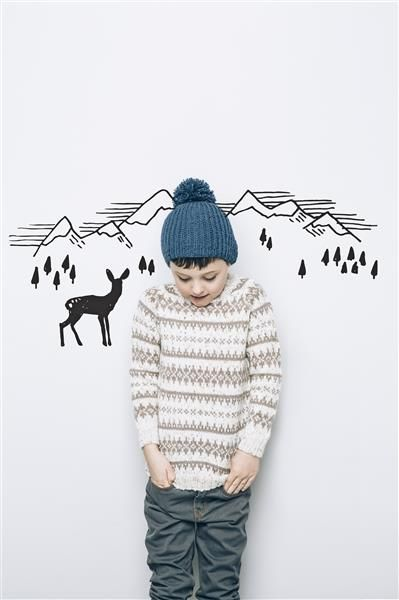 1502: Modell 4 Genser med mønster #alpakka #strikk #knit
