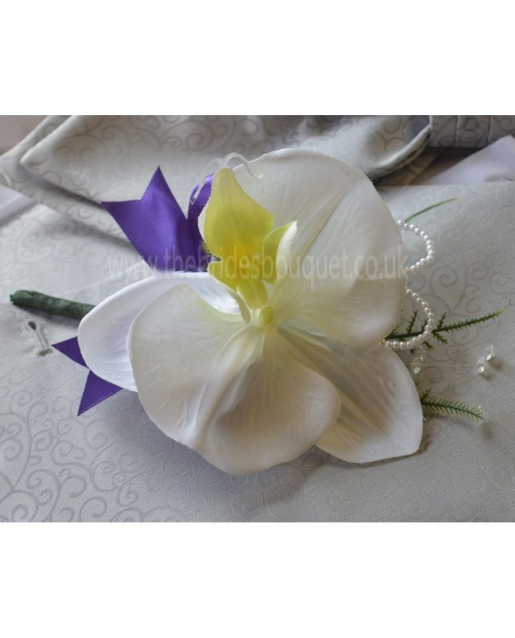 ORCHID CORSAGE - IVORY SILK ORCHID WITH PEARL AND CRYSTAL DETAIL - CHOOSE BOW COLOUR