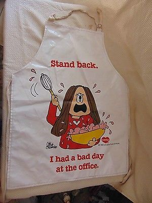 Vintage apron Cathy cartoon WATCH OUT Bad Day at the Office plastic apron 1983
