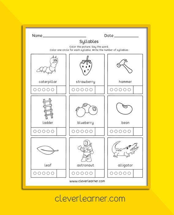 Syllables For Preschoolers Children Free Science Worksheets Kindergarten Activity Sheets Preschool Worksheets
