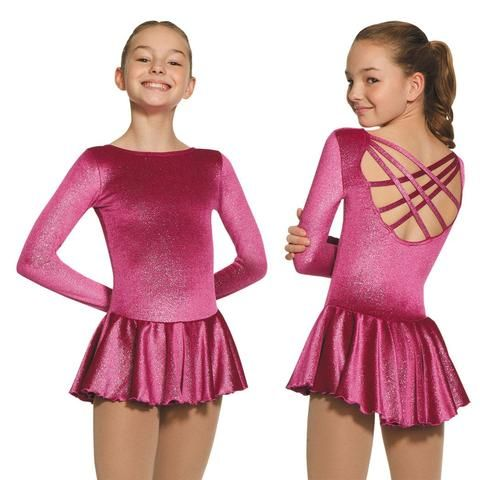 Mondor 2738 Born To Skate Long Sleeve Glitter Velvet Figure Skating Dress - PSH Sports