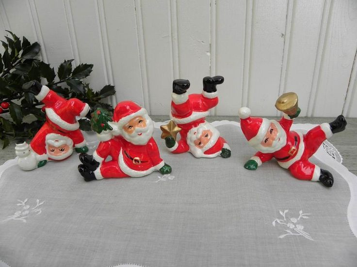 The Pink Rose Cottage - Set of 4 Vintage Tumbling Santa Claus Figurines