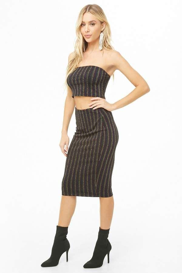 7dcab3bfe8  34.00 - Forever 21 Publik Metallic Striped Crop  Top    Skirt Set ...
