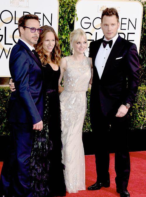 Robert & Susan Downey with Christ Pratt & Anna Faris at Golden Globe Awards 1/11/15