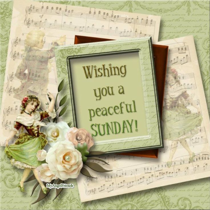 Wishing you a peaceful Sunday! Vintage Sunday greeting in a picture frame with old sheet music, flowers and a dancing girl in period costume