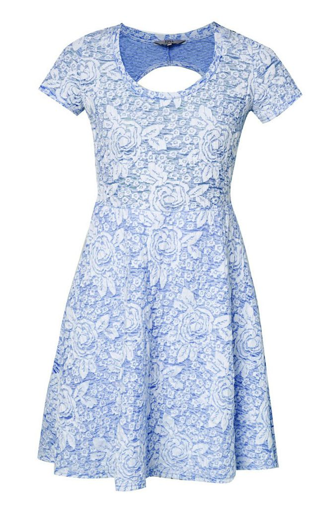 Rose Jacquard Dress by Lola Skye. Made from cotton, short sleeve, with flower pattern, and stretchable, with back cut out, this blue dress is so cute, you can pair it with sandals or slip on. Perfect for your summer outfit or music festival outfit. http://zocko.it/LD4Kt