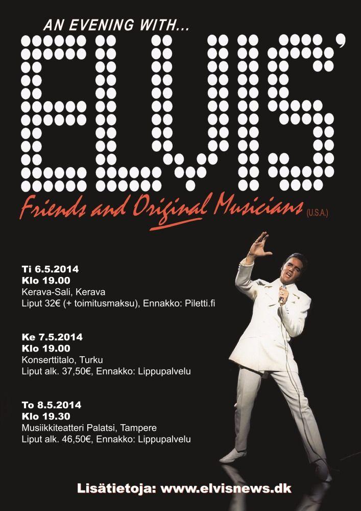 """The Original Elvis Tribut -konsertissa soittavat Duke Bardwell, basso, Jerome """"Stump"""" Monroe, rummut, Robert Washington, laulu ja Carl Bradychock, kitara. Bardwell sekä Monroe ovat soittaneet Elviksen kanssa 70 -luvulla. Konsertin puhujavieras on Dick Grob, joka kertoo muistojaan Elvis -vuosistaan. Hän asui vuodesta 1968 vuoteen 1977 Elviksen Gracelandissa ja seurasi Elvistä aina kiertueilta studioon sekä lomamatkoille asti. Yleisölllä on myös mahdollista kysyä kysymyksiä Dick Grobilta."""