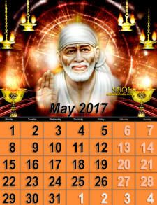 2017-Calendar-May-INDIA-Shirdi-Sai-Baba