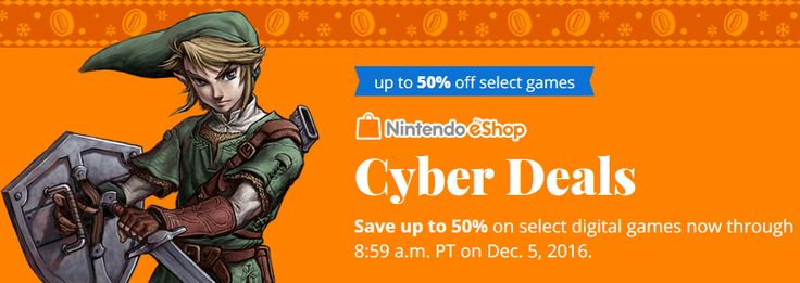 Nintendo eShop Cyber Deals - Save Up to 75% Off Select Wii U and 3DS Games in the Nintendo eShop [From 11/23/16 ... #LavaHot http://www.lavahotdeals.com/us/cheap/nintendo-eshop-cyber-deals-save-75-select-wii/142469?utm_source=pinterest&utm_medium=rss&utm_campaign=at_lavahotdealsus