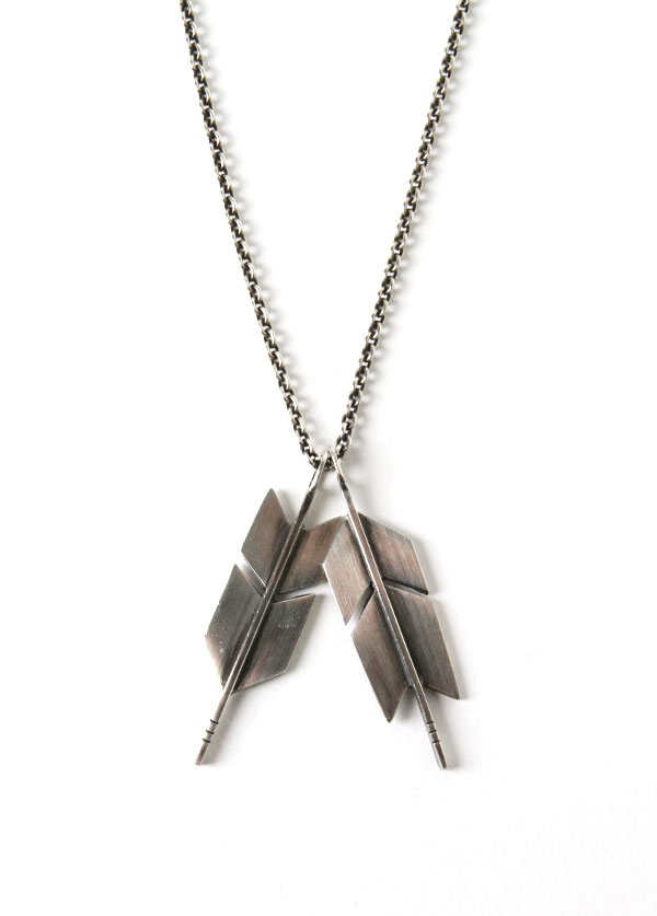 Sleep Standing Up - Bow Feathers Necklace in Oxidized Sterling Silver