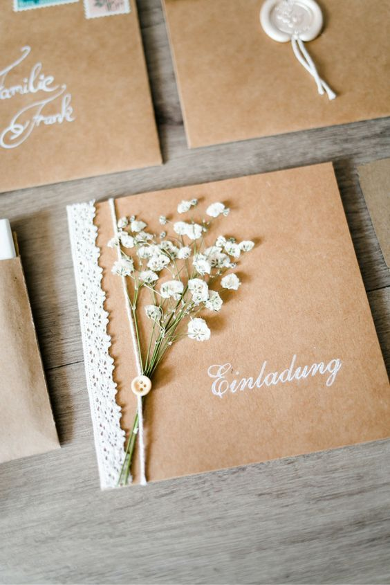 Vintage invitation cards with gypsophila