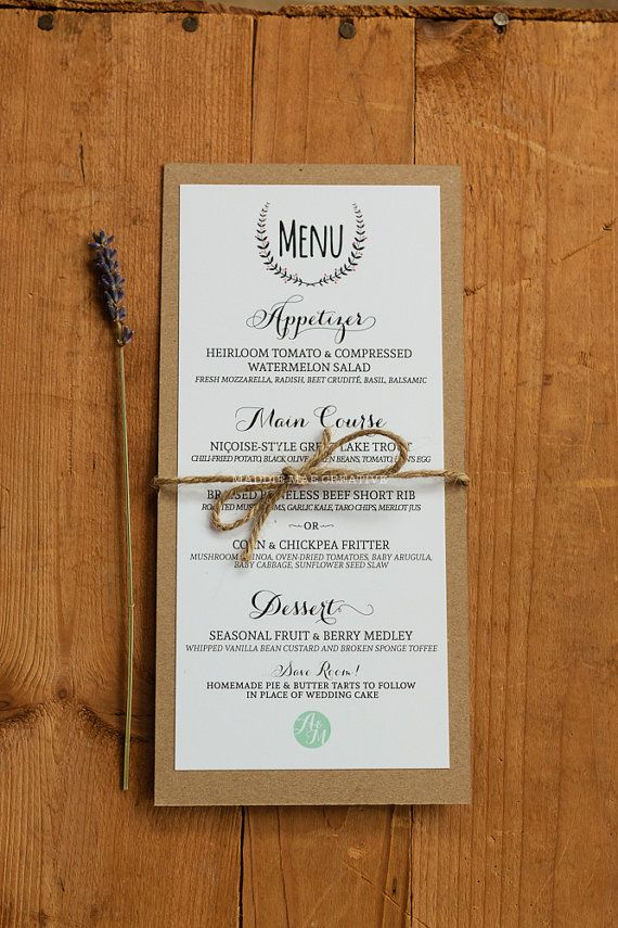paper style wedding invitations%0A     Custom Kraft Paper Menus Kraft Paper by MaddieMaeCreative