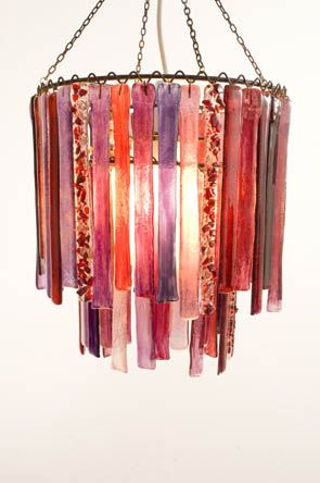 Summer berries. Red, pink and purple small recycled glass chandelier - created to commission. Lovers Lights
