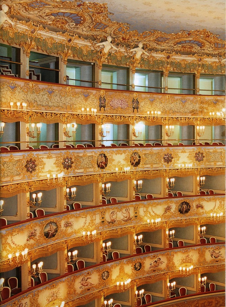 La Fenice, Venice. I attended a concert there back in May of 1981, when the original La Fenice was still standing, before it burned down years later and had to be completely rebuilt. It was a concert of Beethoven and Mozart piano trios. -Lisa Simeone