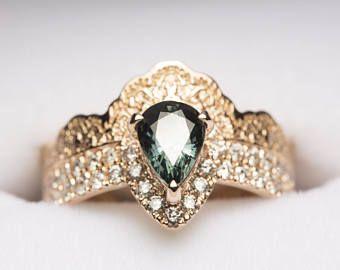 Conjunto zafiro anillo boda, anillo de bodas de oro, venda de boda de diamante, anillo de diamantes en oro rosa, venda de boda de las mujeres, anillo zafiro verde,