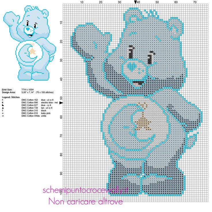 Dormigliorso personaggio de Gli Orsetti del Cuore schema punto croce gratis 70 x 100 7 colori