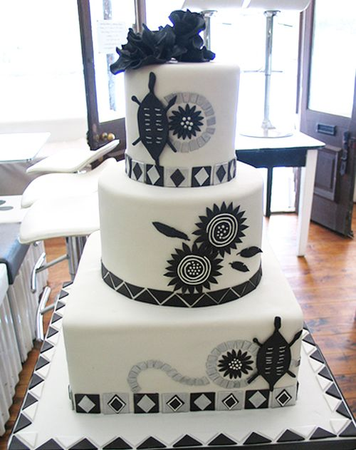 Black White African Wedding Cake My Harusi