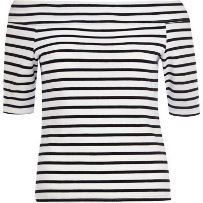 River Island Black and white stripe bardot top on shopstyle.co.uk