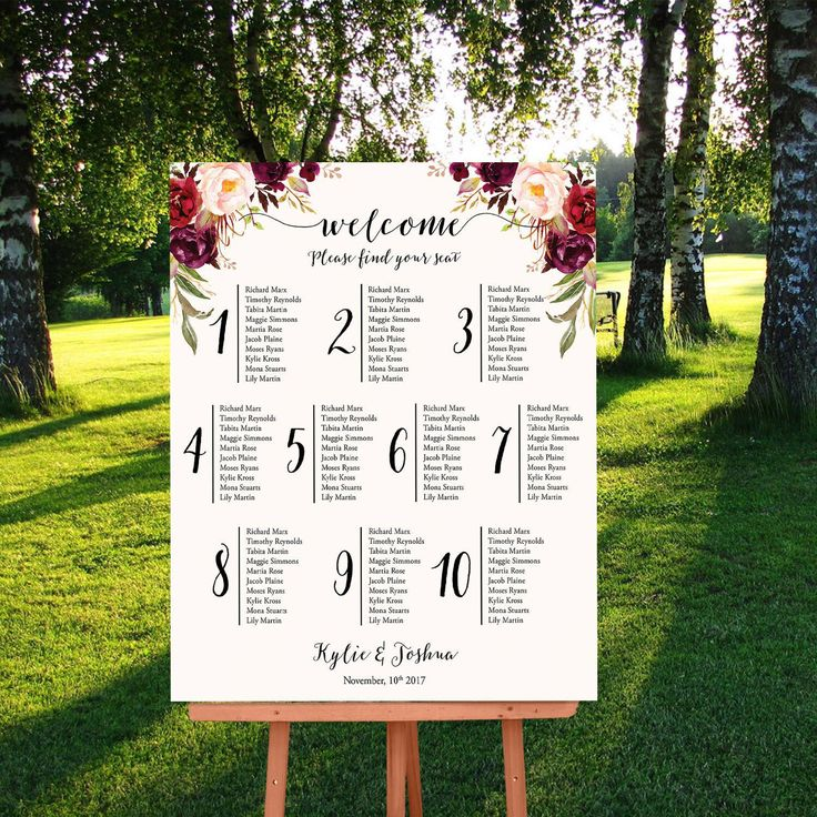 Wedding Seating Chart, Floral Seating Plan, Marsala Burgundy Blush Wedding Seating Plan, Printable Seating Plan, Table Plan Poster - Kylie by InkAndVeil on Etsy https://www.etsy.com/listing/518840939/wedding-seating-chart-floral-seating
