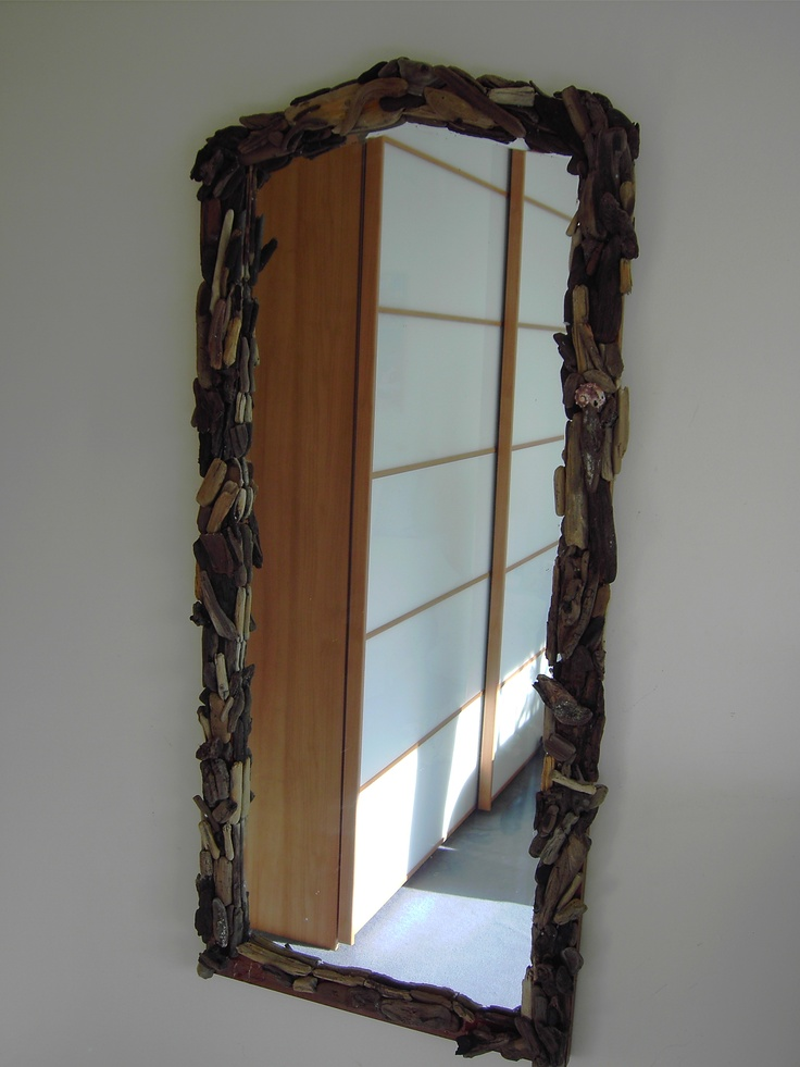Mirror with driftwood