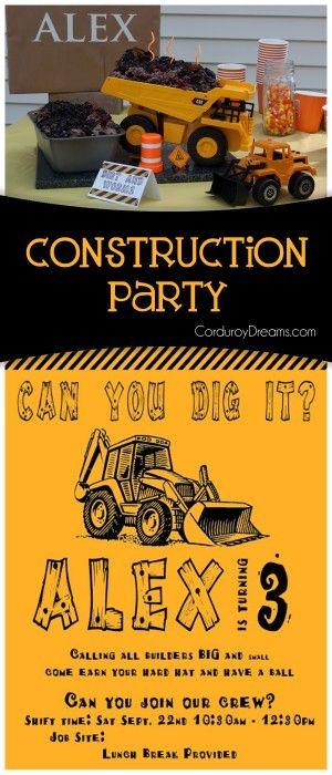 Construction Birthday {party idea} CorduroyDreams.com