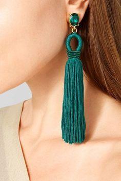 OSCAR DE LA RENTA Tasseled silk, gold-tone and Swarovski crystal clip earrings
