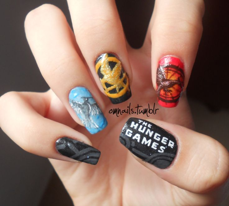 27 best movie nail ideas images on pinterest belle nails nail hunger games nail art that would be hard to do but its too pretty not to prinsesfo Image collections