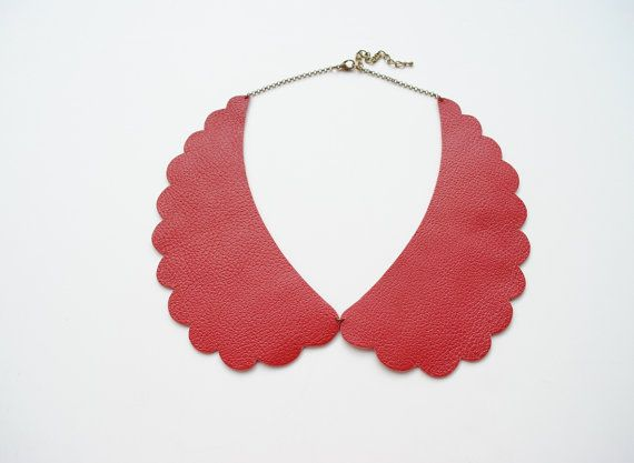 Peter Pan collar necklace in red reather red by elfinadesign