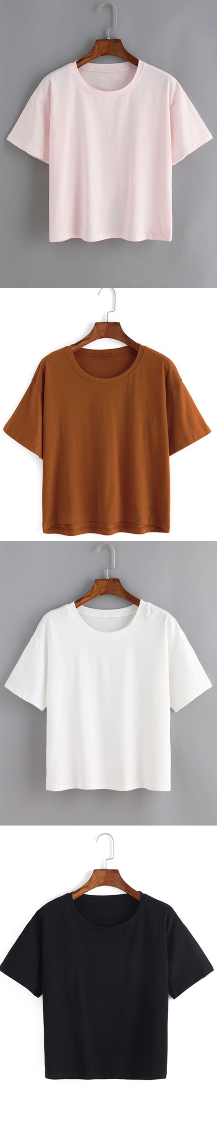Crew Neck Loose Khaki T-shirt. Come romwe.com. for it& sign up for up to 60% off!