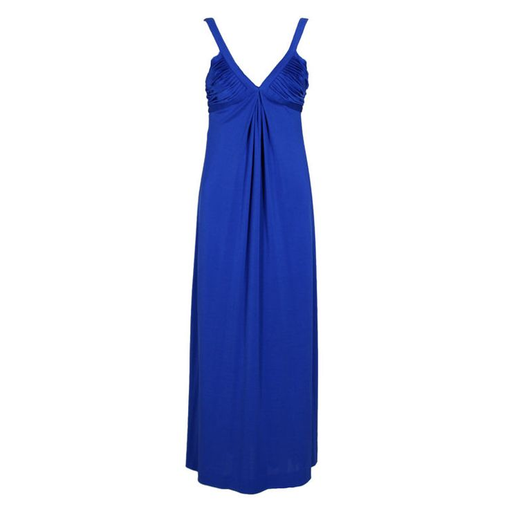 1970's Azzaro Sapphire Blue Silk Jersey Gown | From a collection of rare vintage day dresses at https://www.1stdibs.com/fashion/clothing/day-dresses/